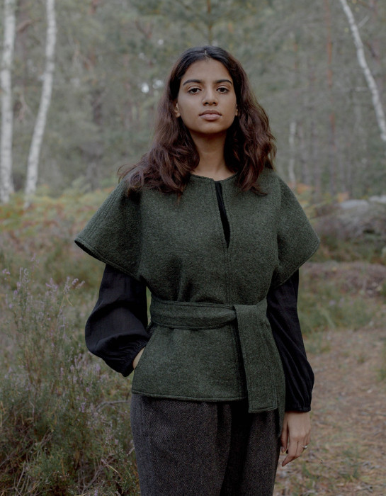 "Pull Poncho ""Aneta"" pure laine vert mousse"
