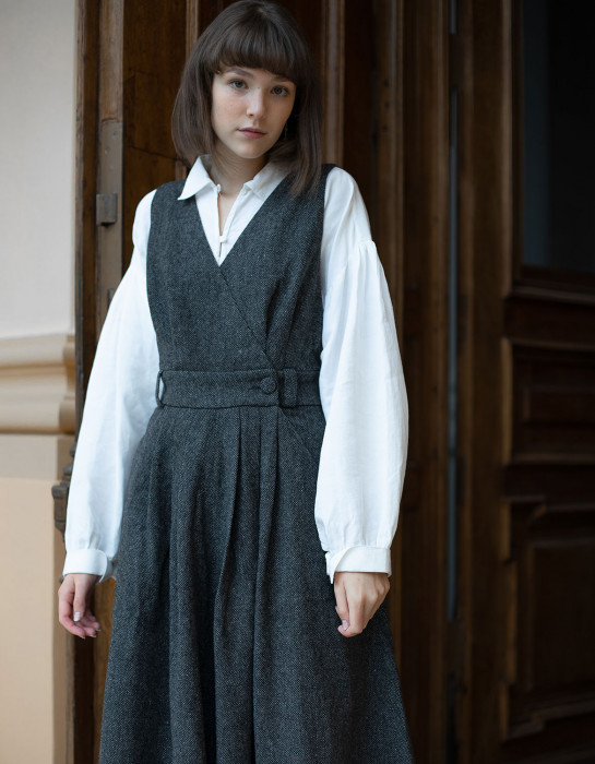 """Robe-chasuble """"Lana"""" pure laine grise"""