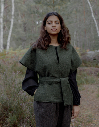 """""""Aneta"""" pure wool poncho pullover moss green"""