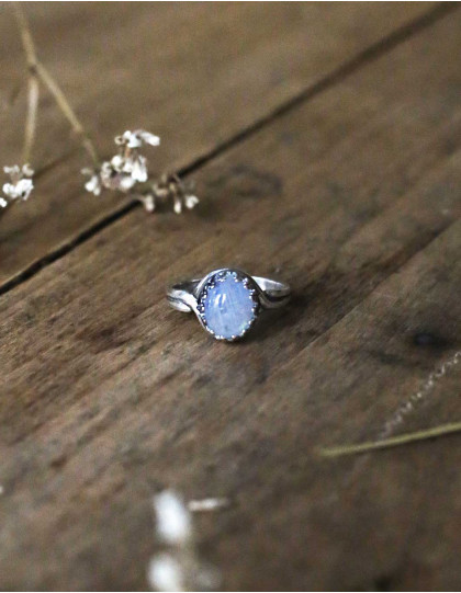 """""""Luna"""" small silver and moonstone ring"""