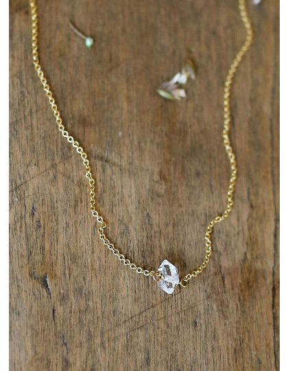 """""""Herkimer Diamond"""" and goldfill necklace"""