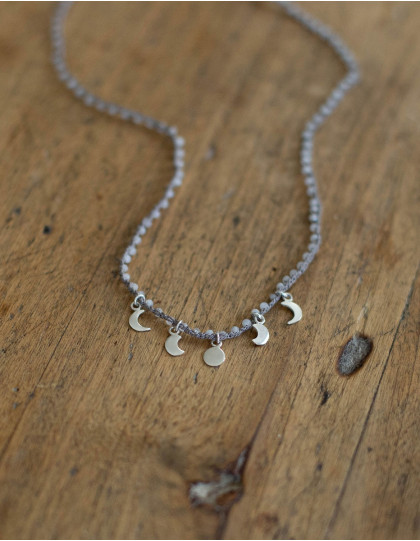 """""""Moon phase"""" necklace with moon stones"""