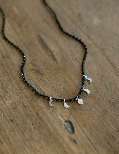 """Moon phase"" necklace with tourmaline"