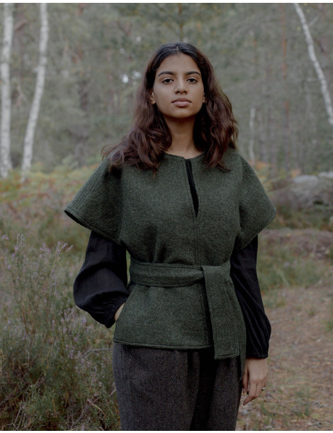 """Aneta"" pure wool poncho pullover moss green"