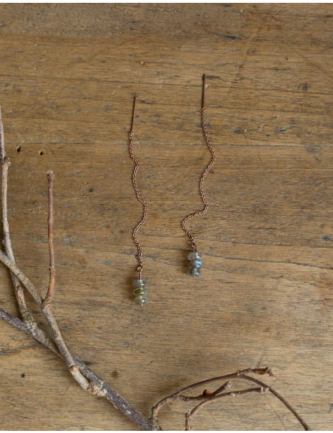 """""""Arvid"""" pink gold earrings with Labradorite stones"""