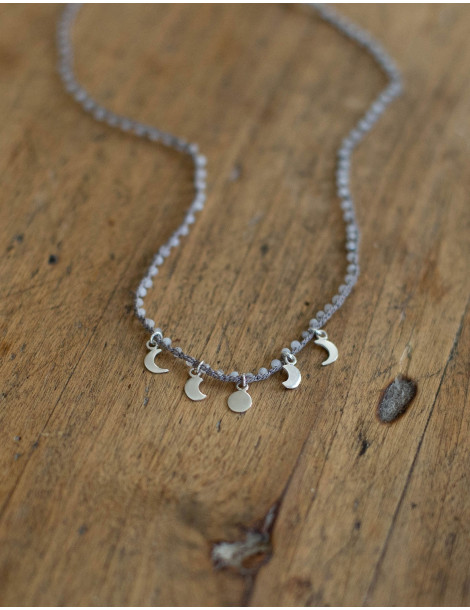 """Moon phase"" necklace with moon stones"