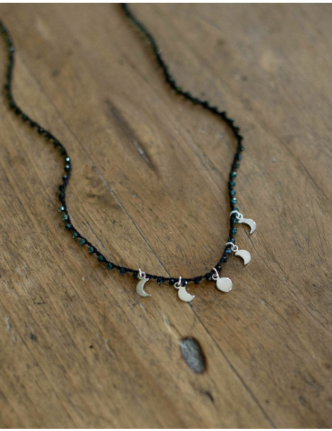 """""""Moon phase"""" necklace with tourmaline"""