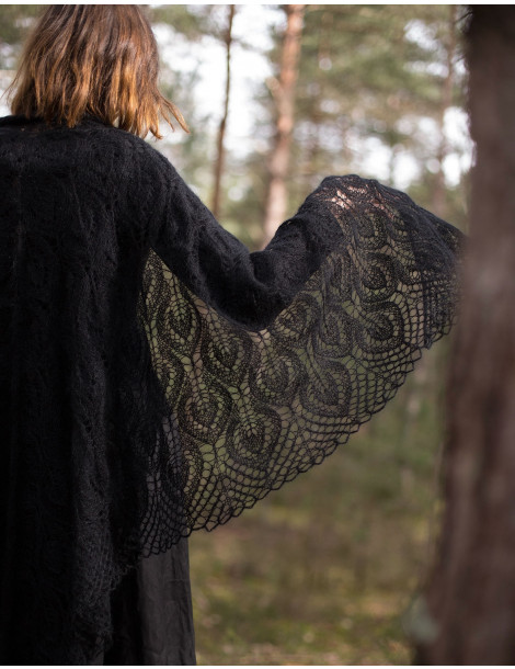 Hand knitted triangular black stole