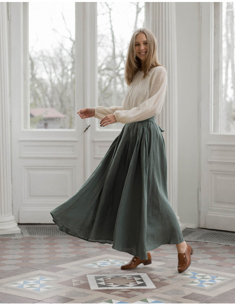"""Vineta"" linen maxi skirt sage green"