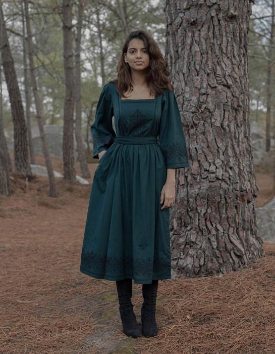 """""""Austra"""" sacred tree embroidered forest green dress"""