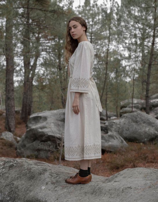 """Austra"" sacred tree embroidered ceramic off white dress"