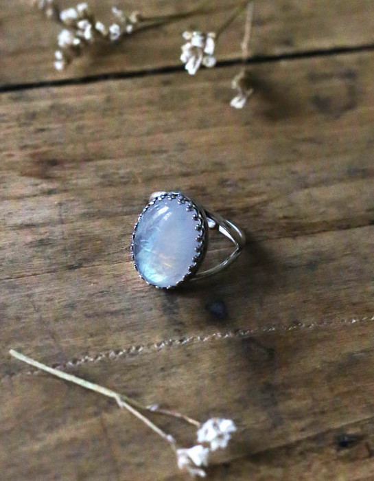 """Luna"" maxi silver and moonstone ring"