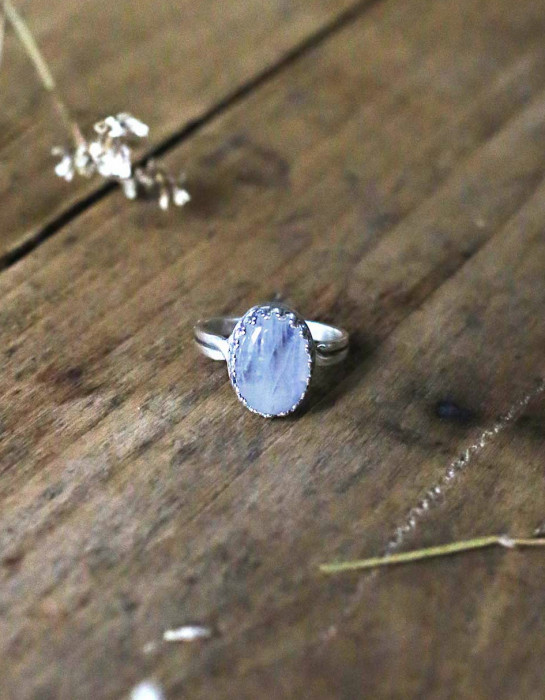"""Luna"" silver and moonstone ring"
