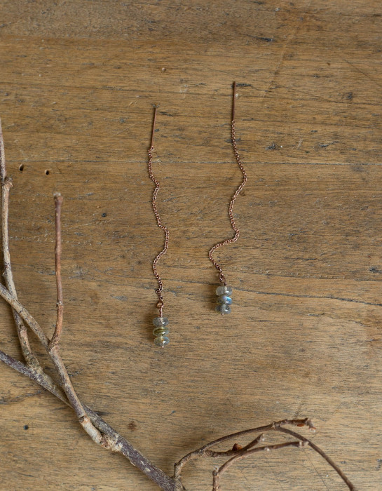 """Arvid"" pink gold earrings with Labradorite stones"