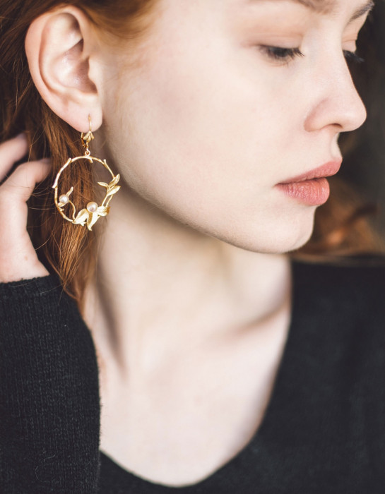 """Wintergarden"" gold earrings"