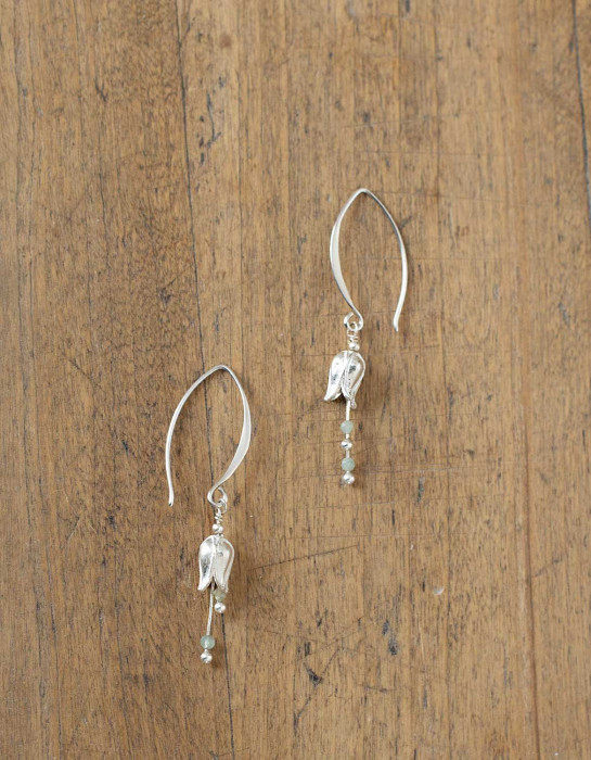 """""""Lily"""" silver earrings with aquamarine beads"""