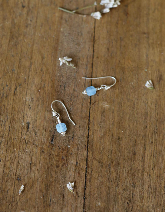 """Asta"" silver and aquamarine earrings"
