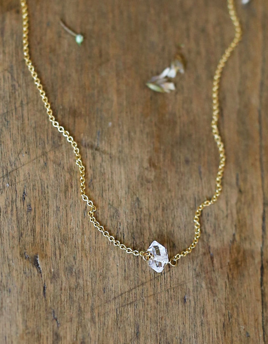 """Herkimer Diamond"" and goldfill necklace"