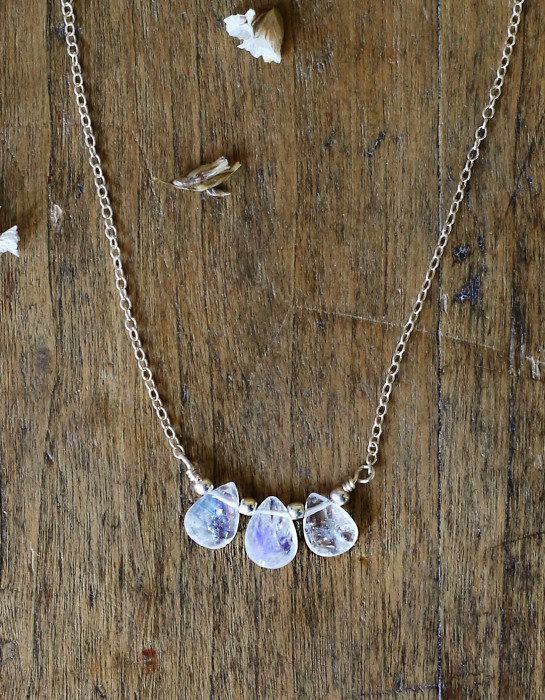 """Indra"" silver and moonstone necklace"