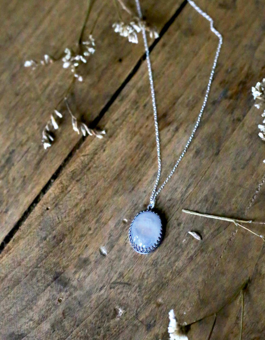 """Luna"" moonstone and silver necklace"