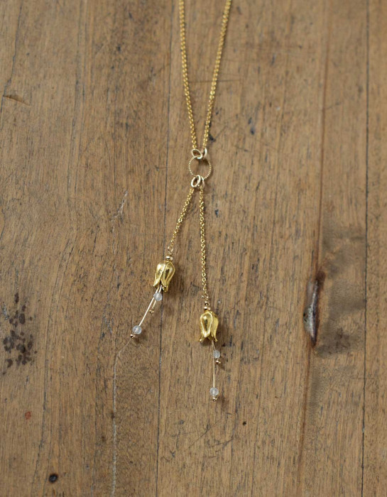 """""""Lily"""" gold necklace with moonstone beads"""