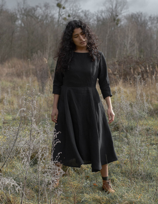 """Elina"" black midi dress in organic linen"