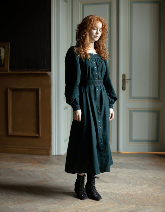 """""""Elma"""" embroidered maxi dress forest green"""