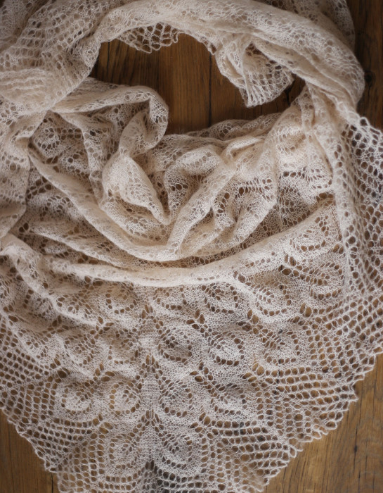 Hand knitted cream stole triangle