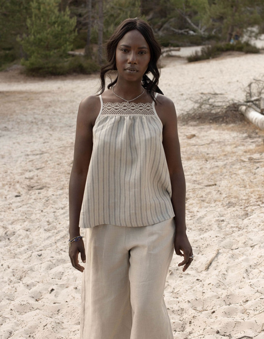 """Asta"" striped organic linen top"