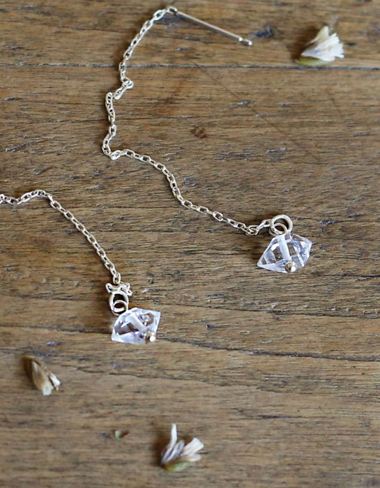 """Herkimer Diamond"" and silver earrings"