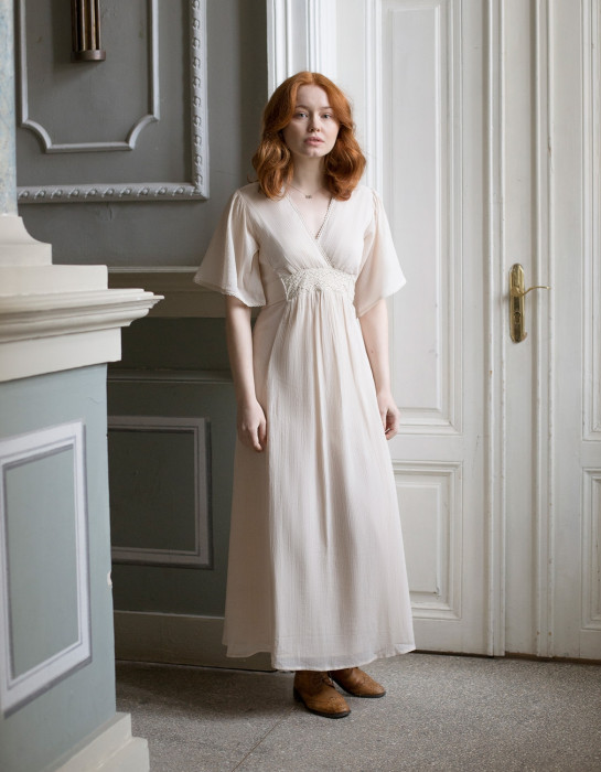 """Kaarina"" cotton maxi dress ivory"
