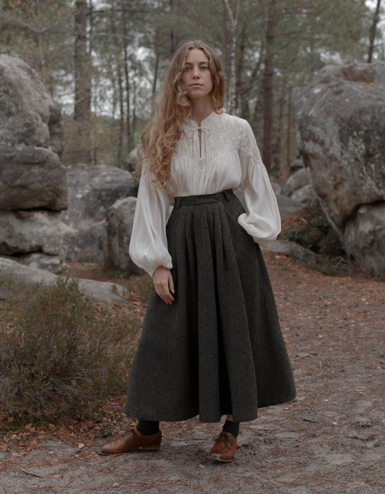 """Lana"" pure wool skirt moss green"