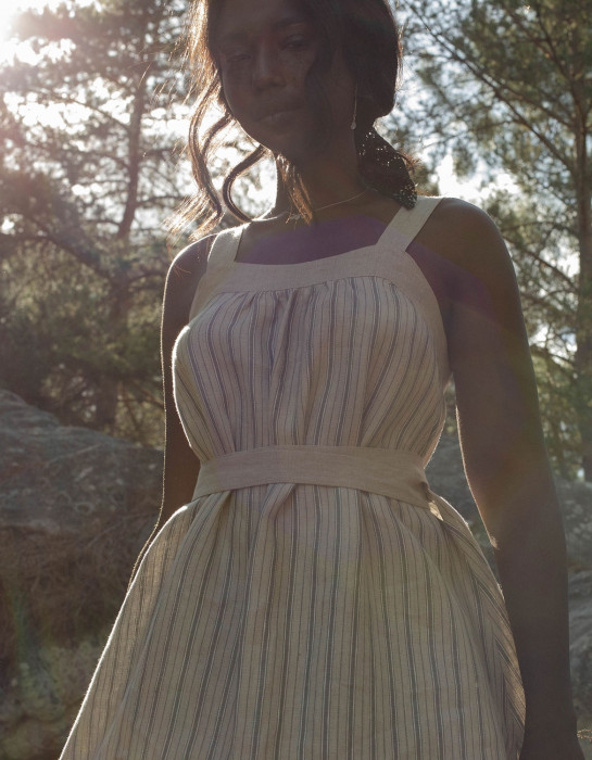 """Lina"" striped organic linen apron dress"