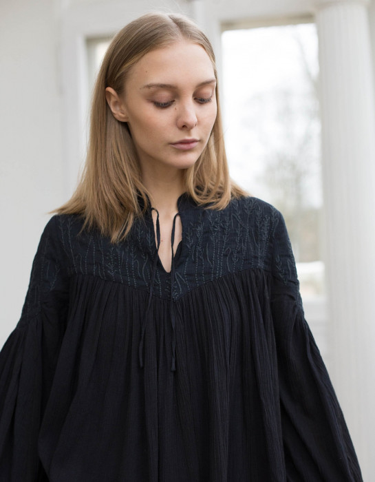 """Marla"" embroidered cotton crepe blouse black"