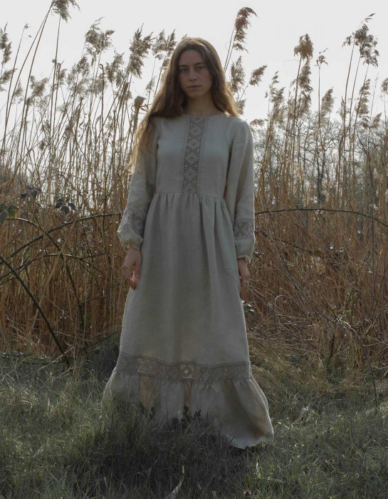 """Misha"" maxi dress in natural linen"