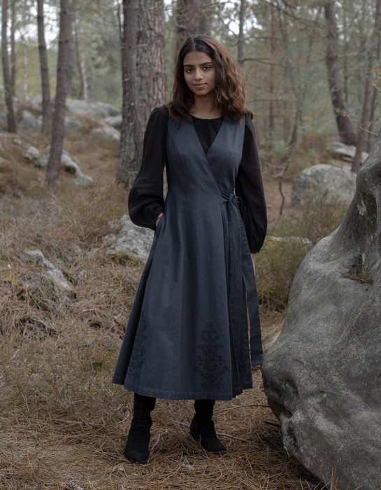 """Naïma"" charcoal grey embroidered overall dress"