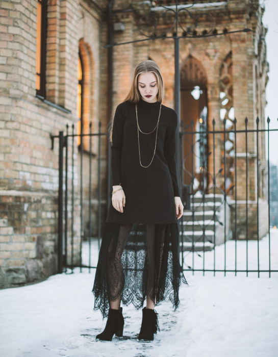 """Nadya"" long black lace skirt MADE TO ORDER"