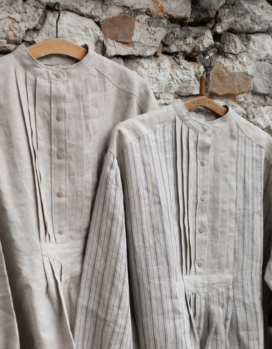 """René"" French miller's shirt replica striped linen"