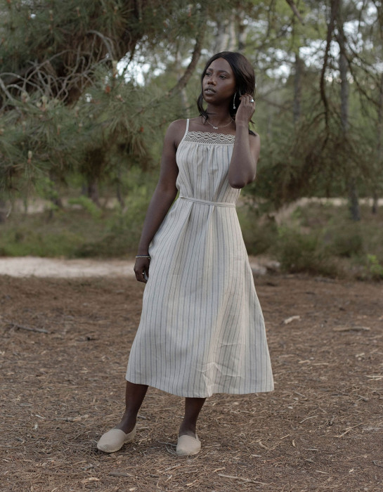 """Asta"" striped organic linen dress"