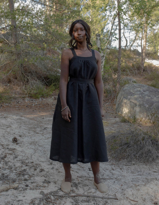 """Lina"" black organic linen apron dress"