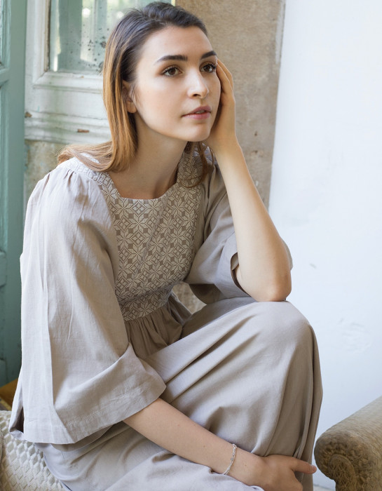 """Mivilud"" embroidered maxi dress cream"