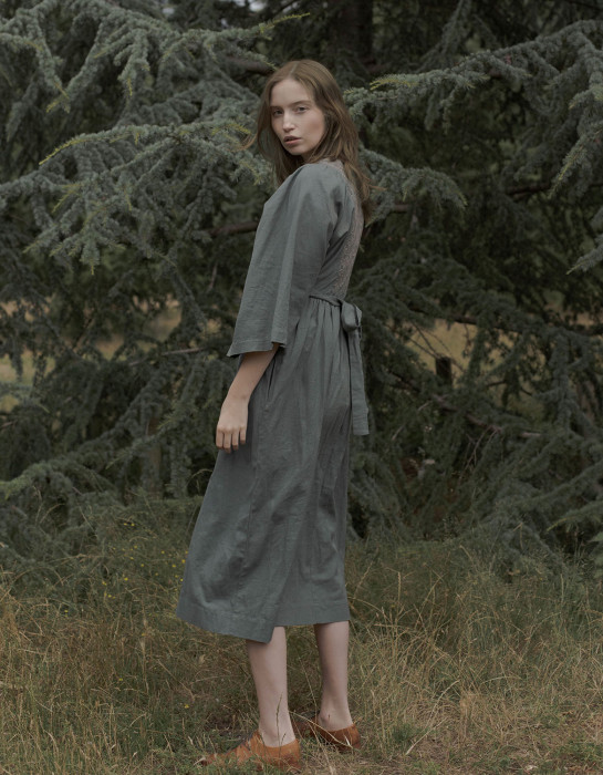 """""""Mivilud"""" embroidered maxi dress sage"""