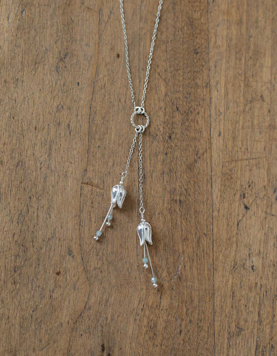 """""""Lily"""" silver necklace with aquamarine beads"""
