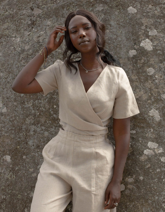 """Vilma"" undyed linen crop top"
