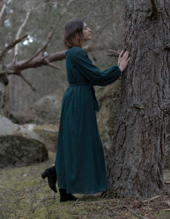 """Ziema"" cotton maxi dress forest green"